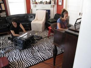Susan Falls recording piano