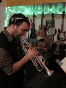 "Michael Irwin tracks trumpet for Dare Dukes' ""Meet You at the Bus"""